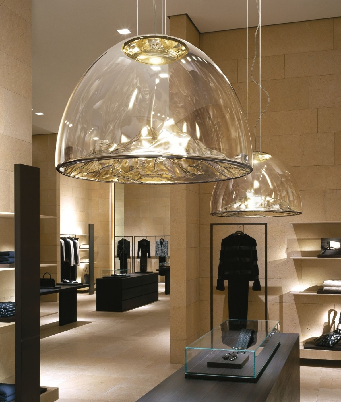 large glass led dome pendant with mountain detailing