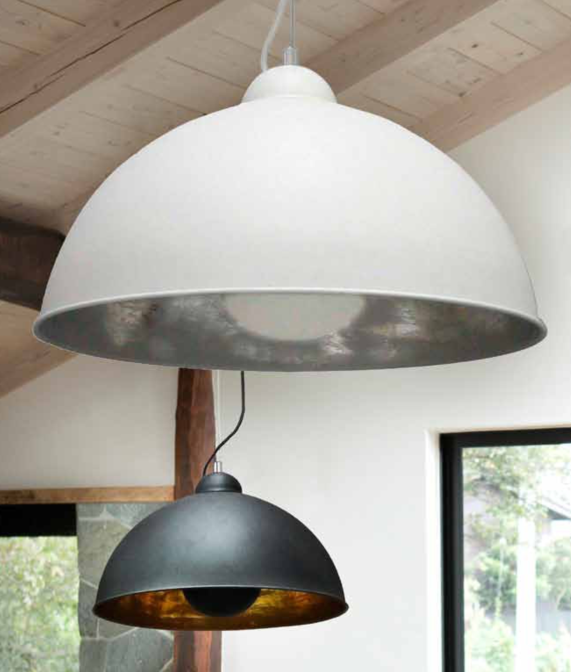 Large ceiling pendant in two colours with a wire suspension and ...