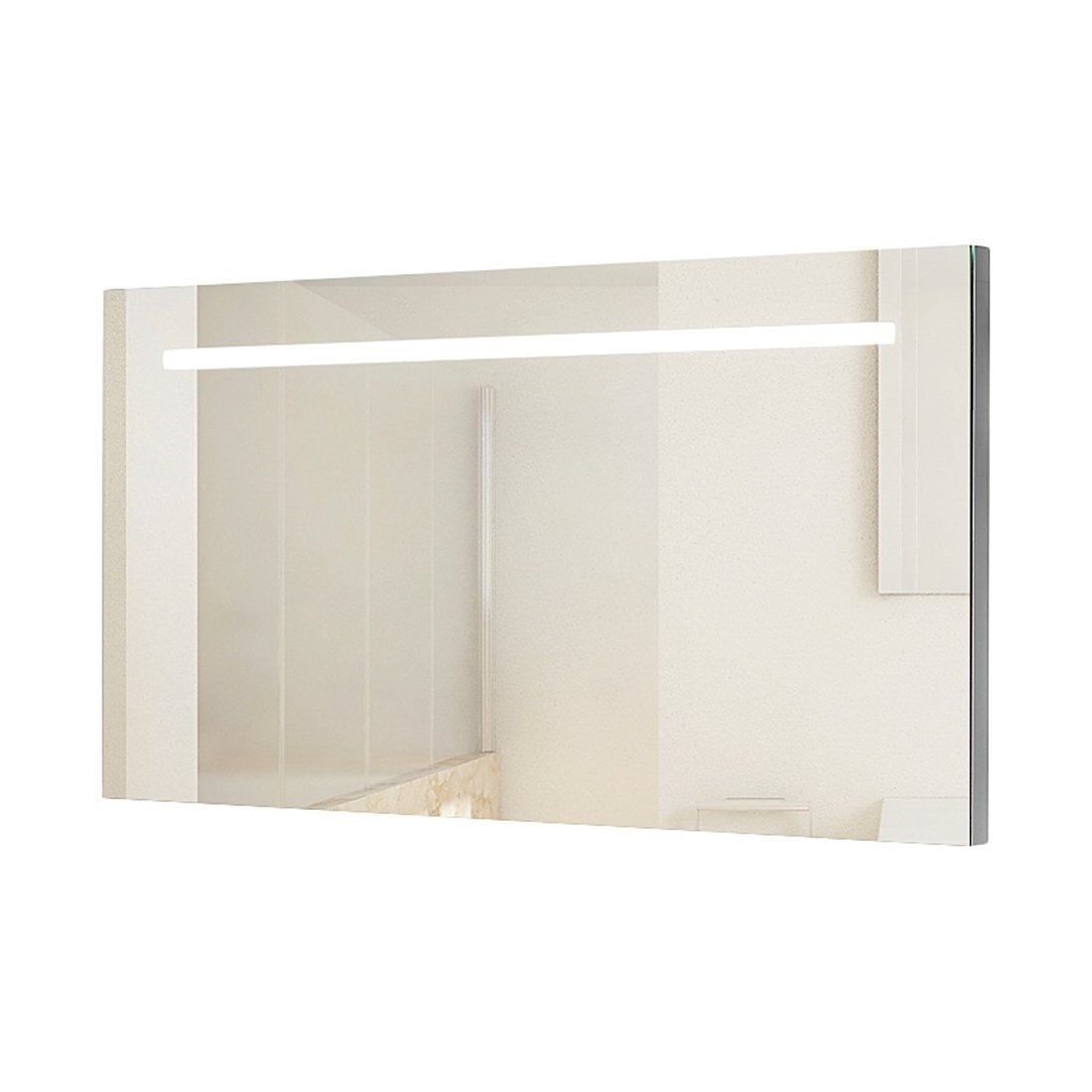 Wide and tall illuminated bathroom mirror with backlit effect