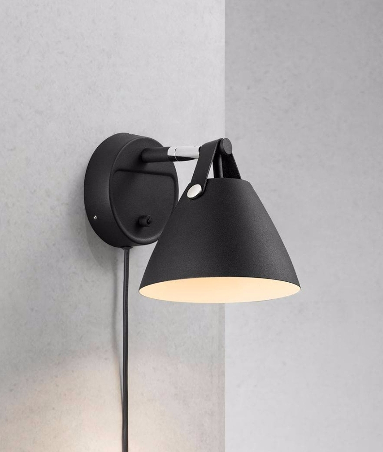Leather Strap Metal Wall Light 2 Finishes Black Or White
