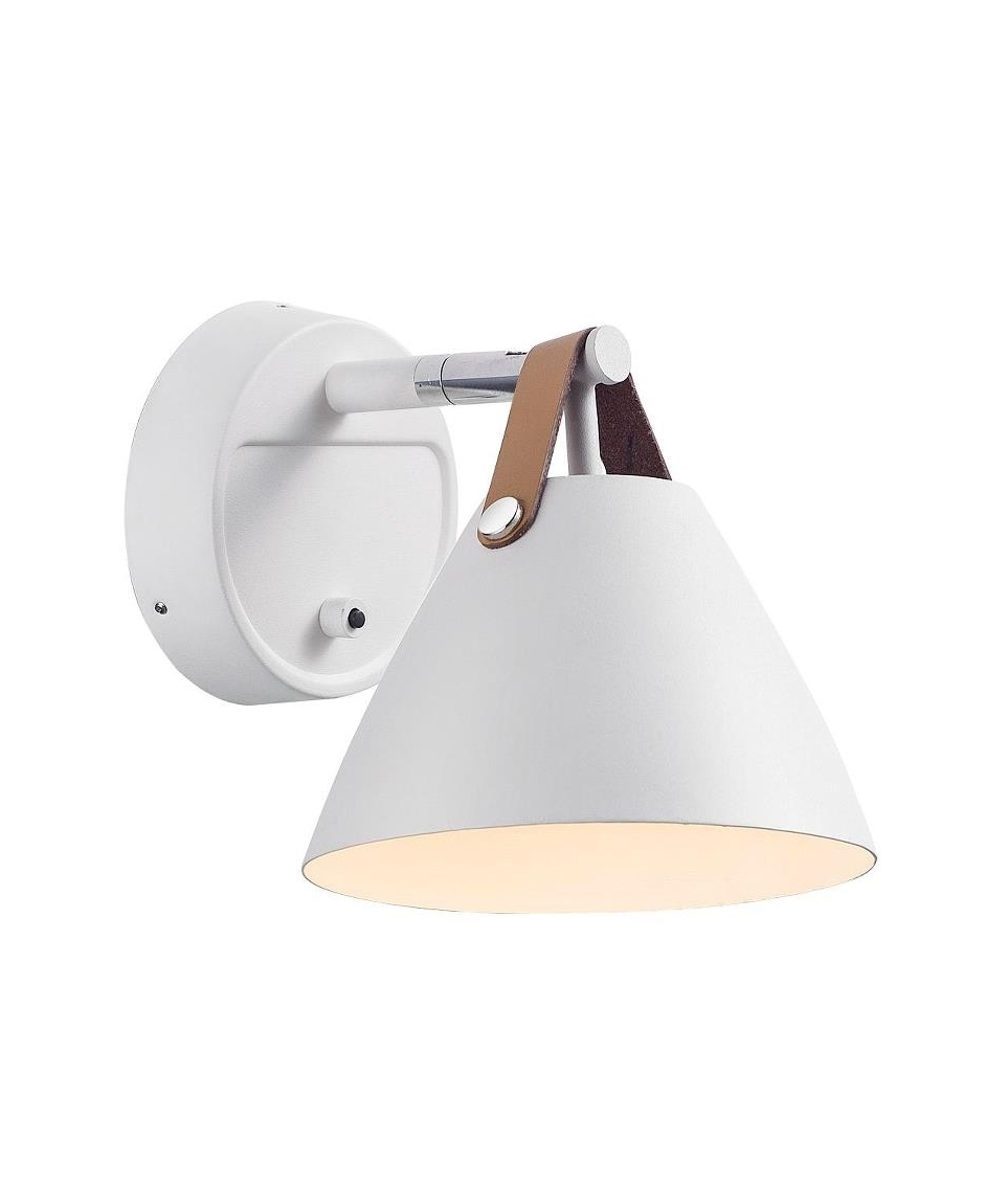 Black or white leather strap metal wall light hover to zoom aloadofball Image collections