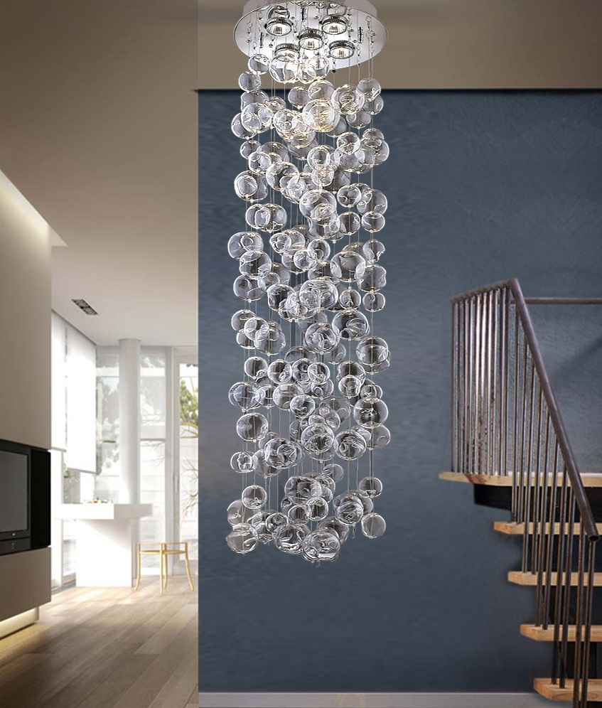 10 Glass Balls Spiral Chandelier Stair Long Chandelier