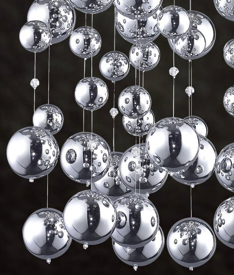 Ceiling Fixture With Long Drops Of Chrome Balls 1200mm High