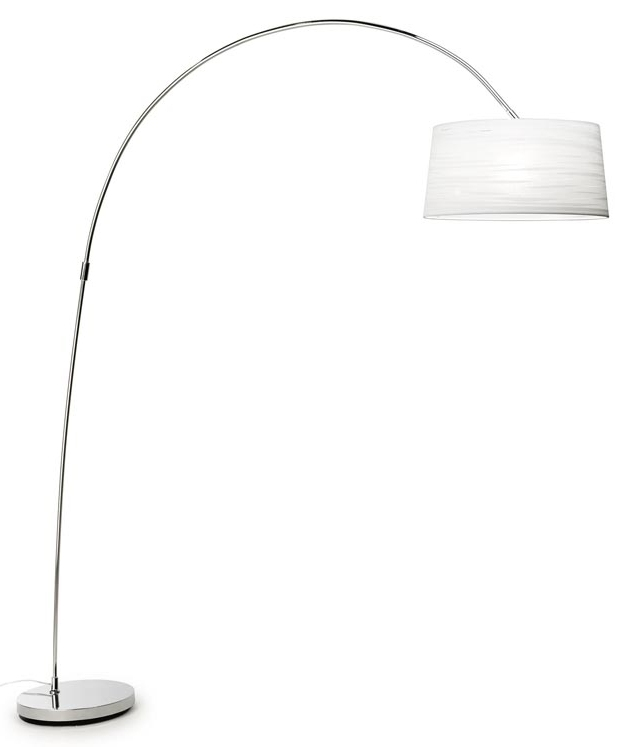 Modern Long Reach Steel Floor Lamp With Ribboned Shade