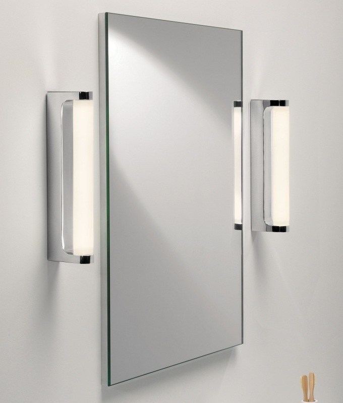 Polished chrome led bathroom mirror light ip44 Polished chrome bathroom mirrors