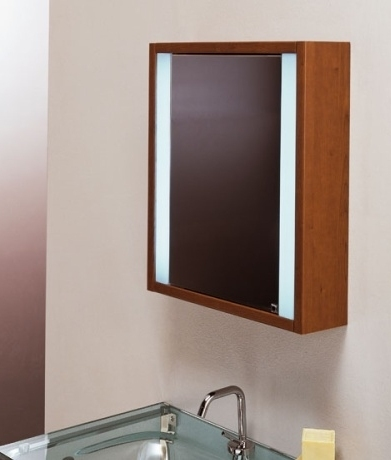 wooden illuminated bathroom mirror cabinet 21735