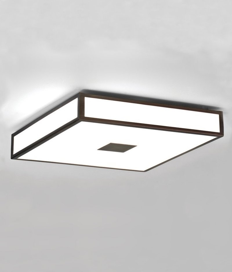 Opal glass square bathroom ceiling light in art deco style - Art deco bathroom lighting fixtures ...