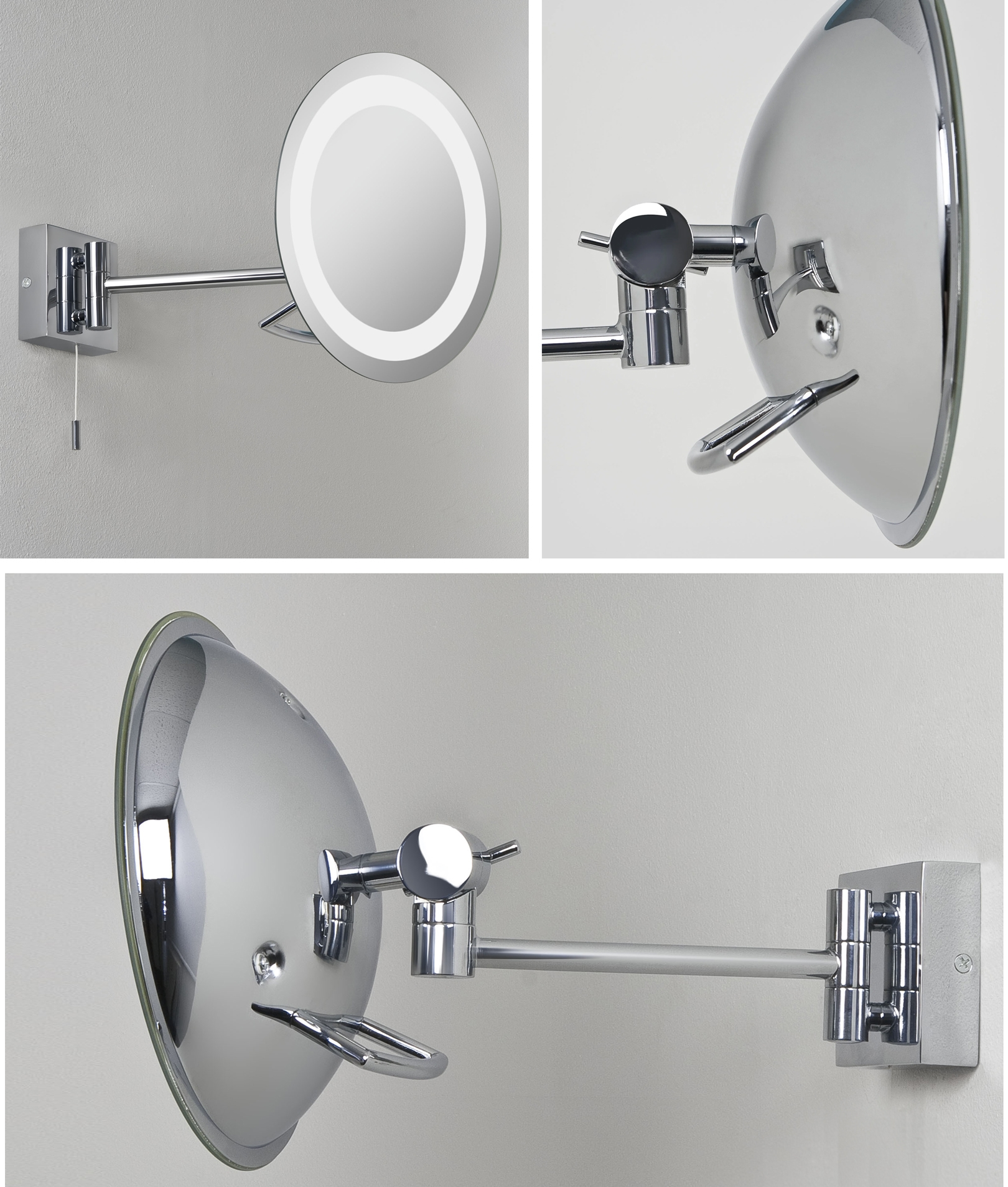 Illuminated Vanity Mirror Wall Mounted On Long Stem 3x Magnification Round Low Energy Bathroom Vanity Mirror Ip44 Unswitched
