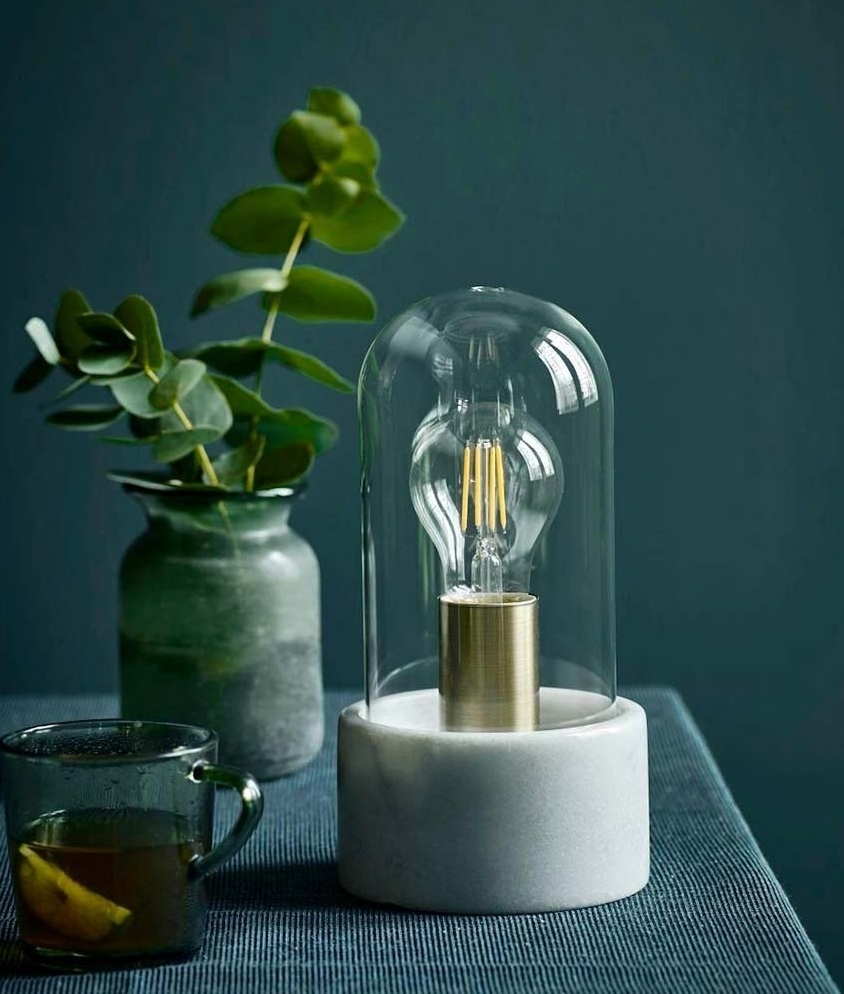 Glass Dome And Marble Table Lamp