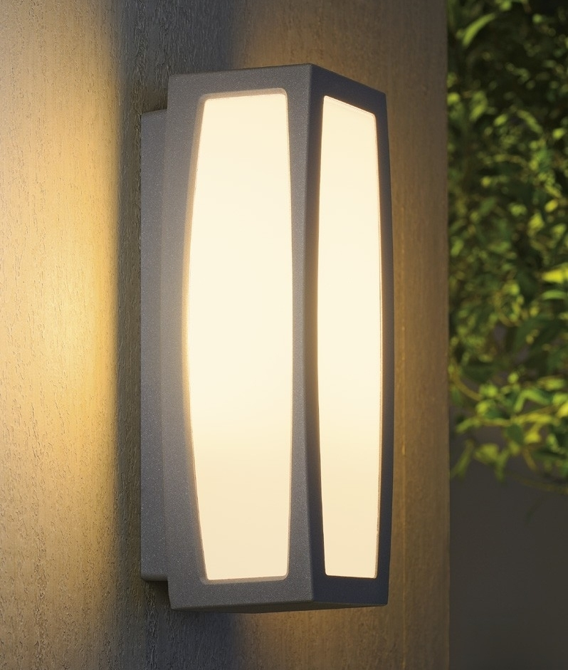 Exterior modern box light with sensor for Contemporary exterior wall lights