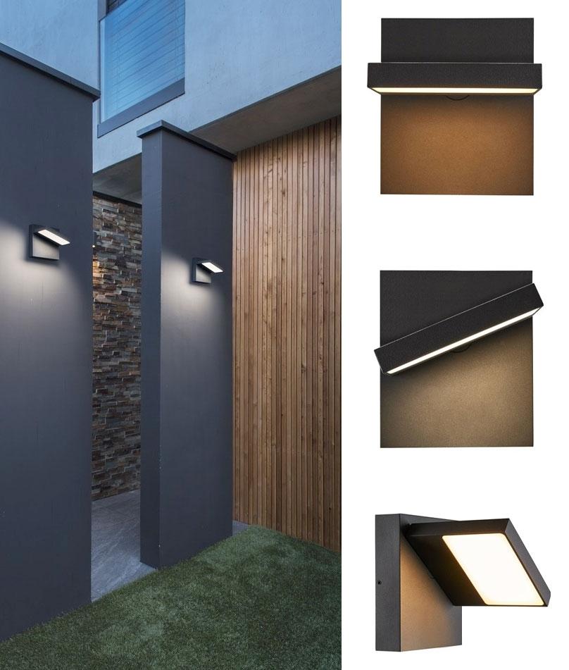 Modern Exterior Wall Light That Tilts, Outdoor Wall Downlights Led