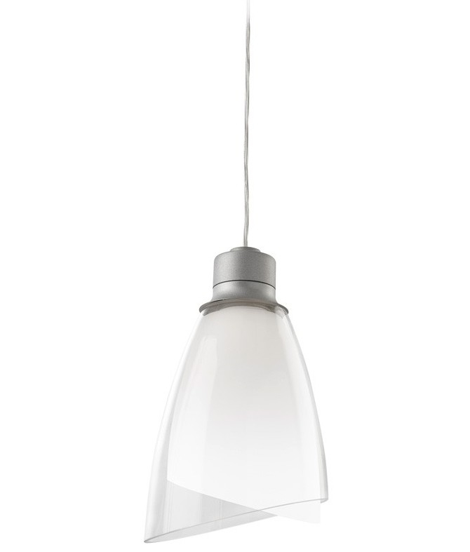 Pendant Light In Double Opal Amp Clear Glass