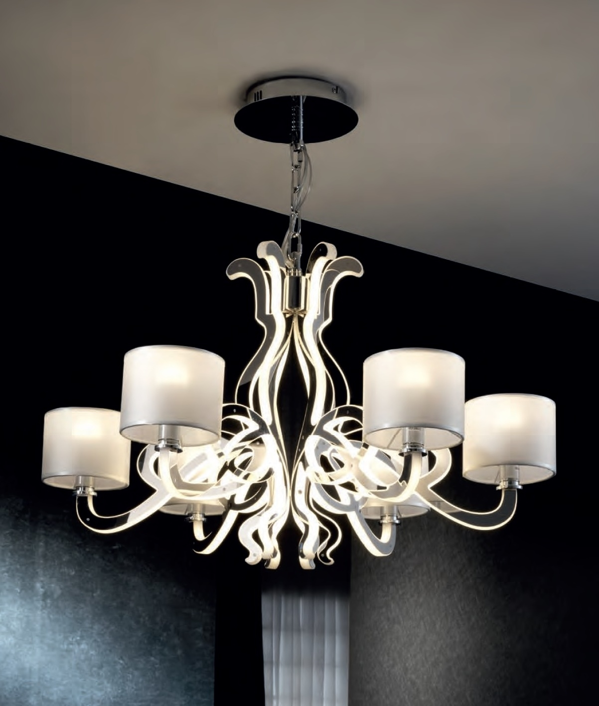 Ghost design 6 light chandelier with shades leds - Can light chandelier ...