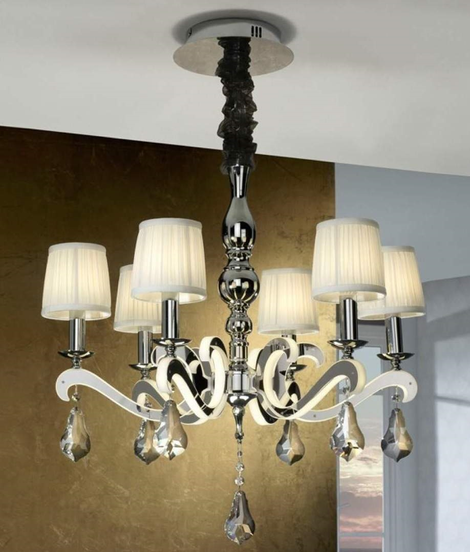 Do Wall Sconces Have To Match Chandelier : Reflective Chandelier with Pleated Shades & LED
