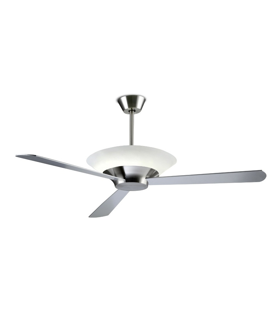 modern remote controlled ceiling fan with uplight in silver dark