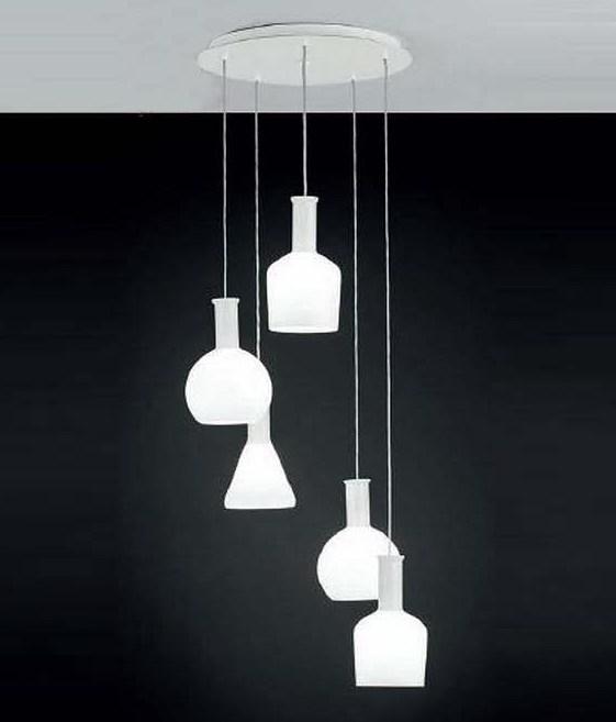 Opal Glass Bottle Cluster Pendant 3 Or 5 Light Versions