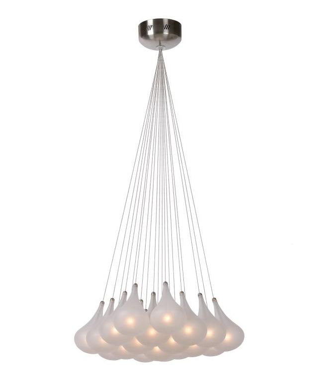 Opal Glass Teardrop Hanging Cluster Pendant