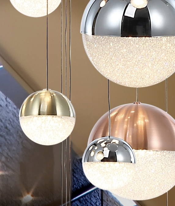 27 Led Long Drop Glitter Ball Pendant Chrome Nickel And Gold