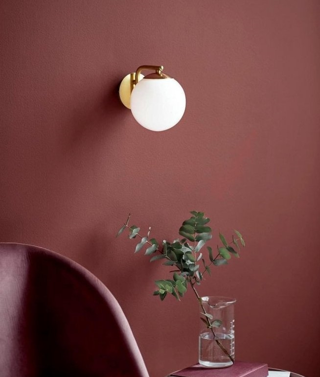 Wall Light With Globe Opal Glass