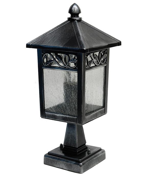 Warwick Pedestal Lantern Light Black: Traditional Gothic Exterior Pedestal Lantern