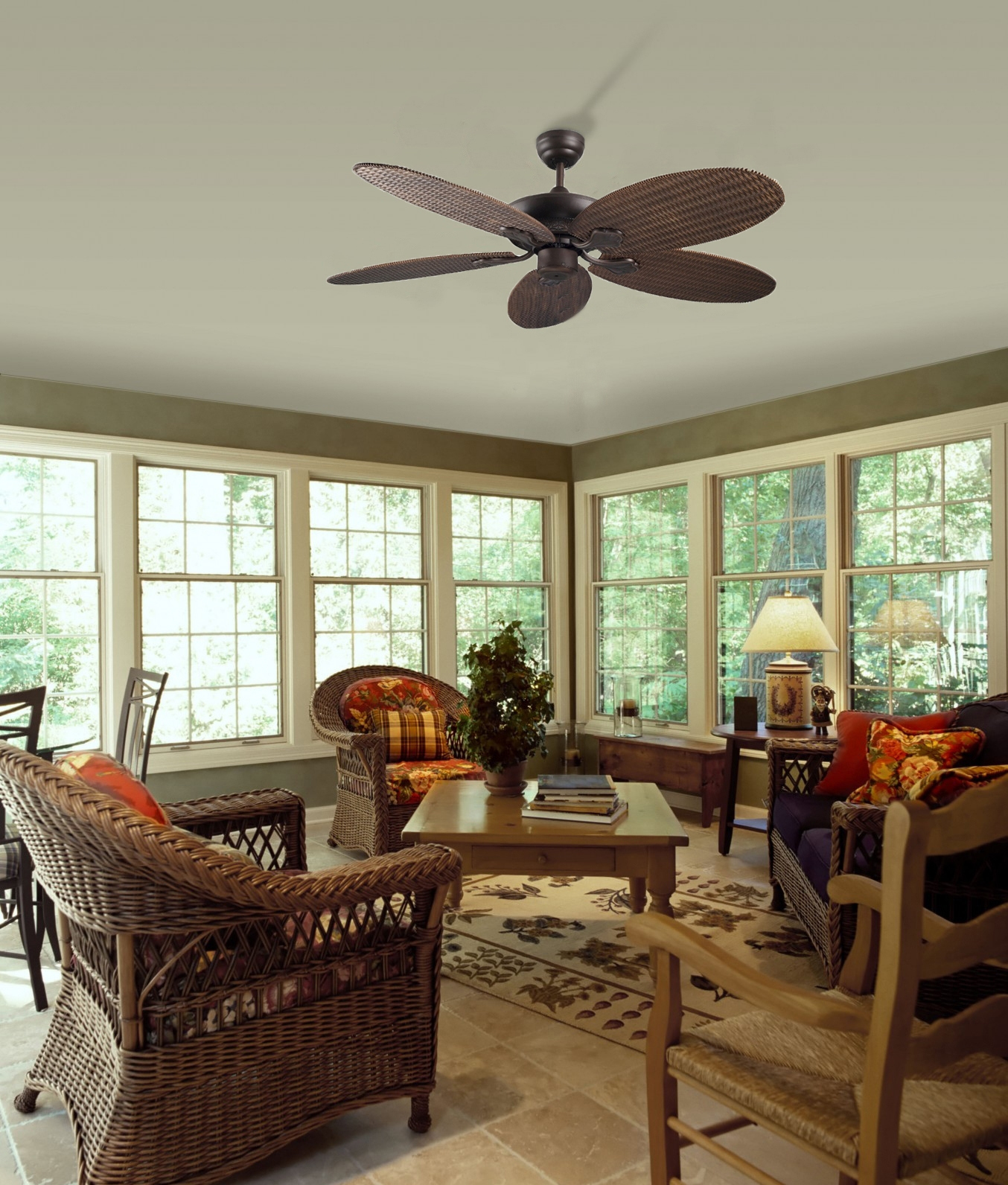 Rattan Style Ceiling Fan With Pull Cord And No Light Feature