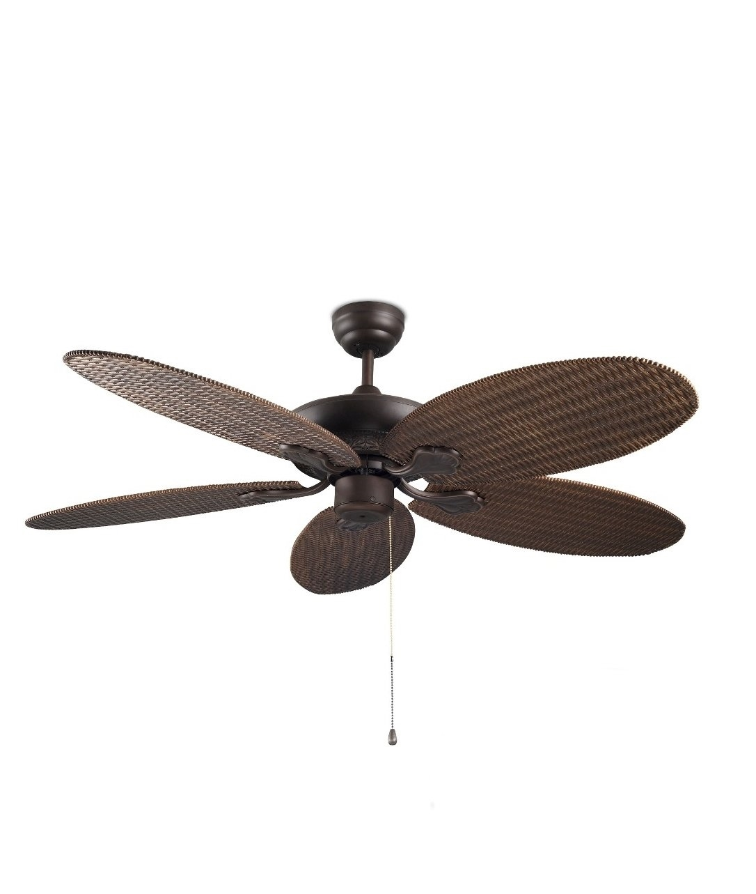 Rattan Style Ceiling Fan With Pull Cords And No Light Feature
