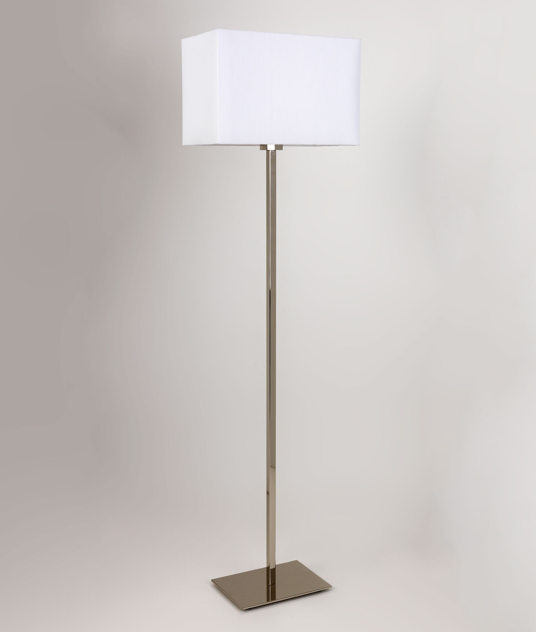 Floor Standing Lamp Square Stem in Nickel Or Bronze Finish