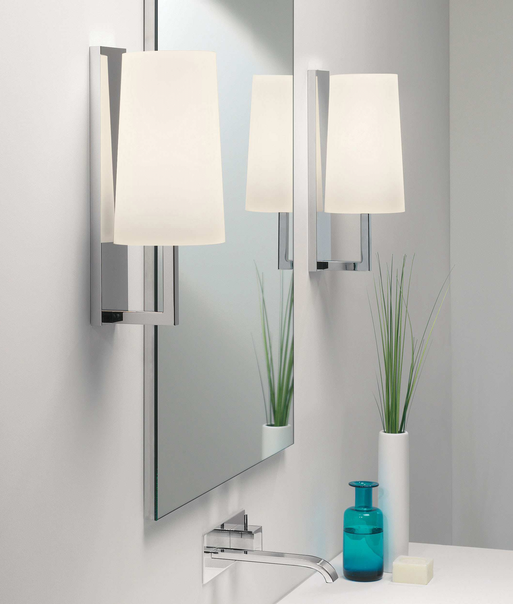 Slim Modern Wall Light And Tapered Fabric Shade Ip44
