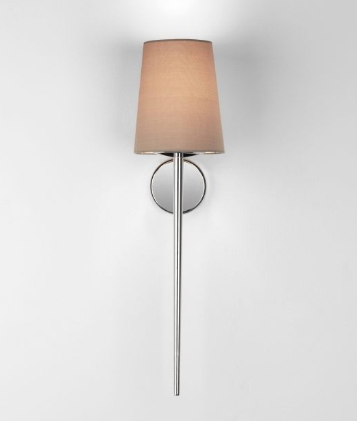 Simple Fabric Tall Wall Light: Tall Torch Style Wall Light With A Choice Of Fabric Shades