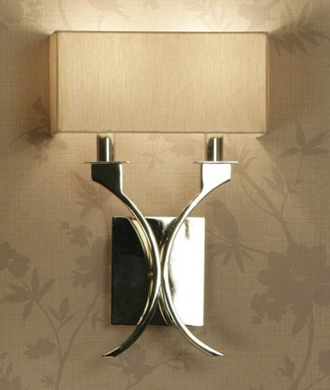 Wall Light In Polished Nickel With Cream Shade