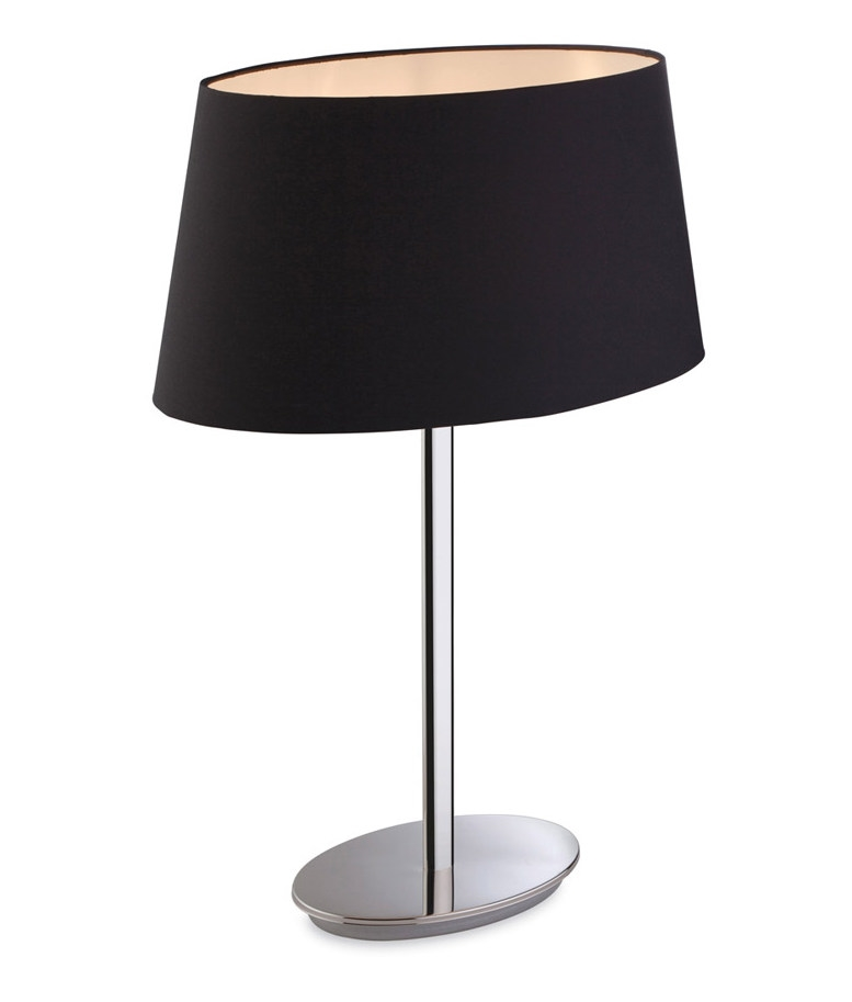 oval shade polished steel table lamp black or oyster shade option. Black Bedroom Furniture Sets. Home Design Ideas