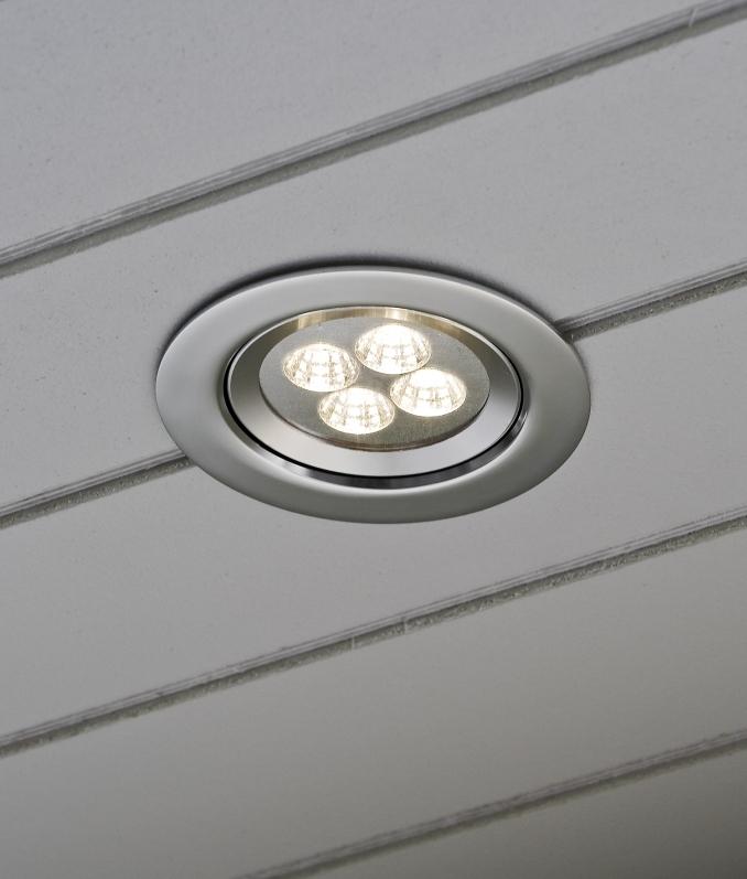 Recessed Led Soffit Light In Aluminium Ip44 To Wash