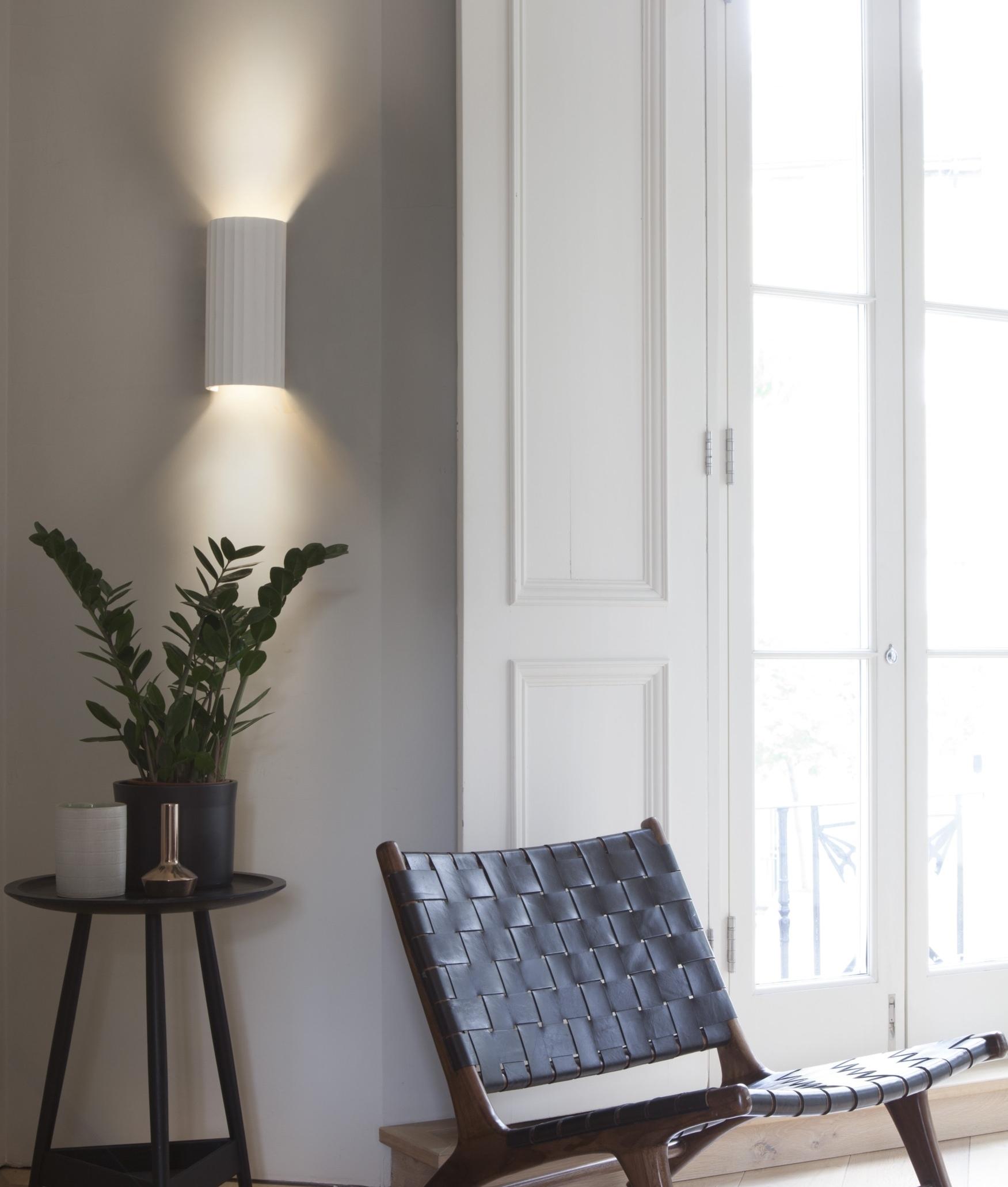 Plaster Rippled Up & Down Wall Light