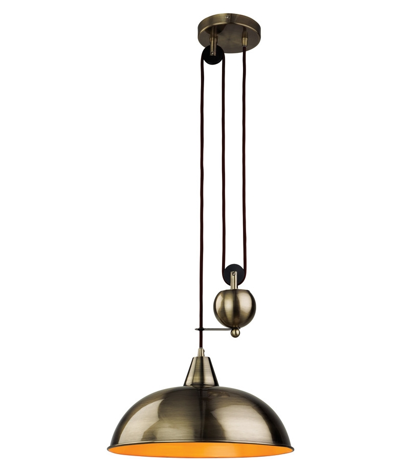 Spun Metal Reflector Pendant With A Rise And Fall Mechanism