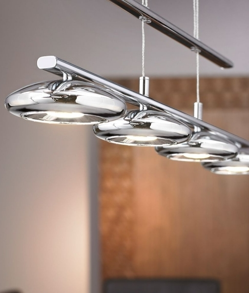 Industrial Rise And Fall Pendant Light: Chrome Rise And Fall Four Light Pendant