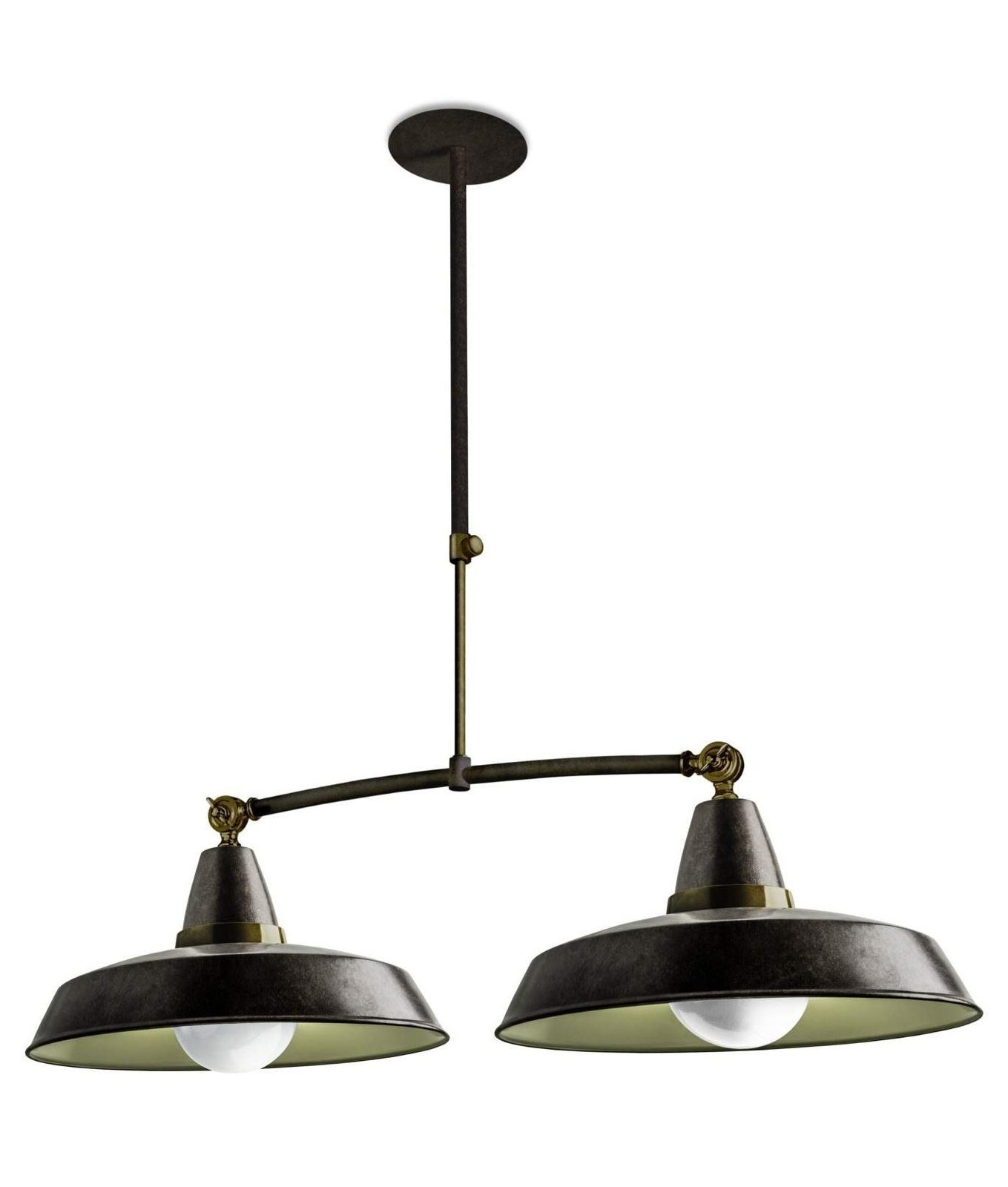 Rise and fall pendant light fittings - Vintage Style Twin Pendants On Trapeze Suspension