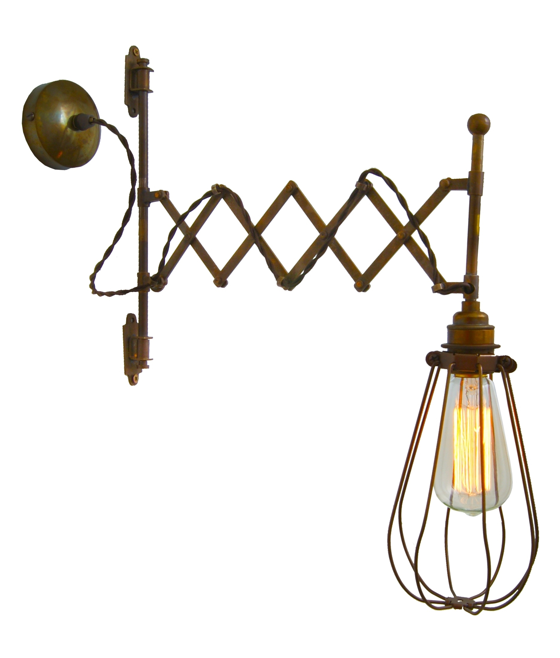 Scissor Arm Extendable Caged Wall Light Extending To A