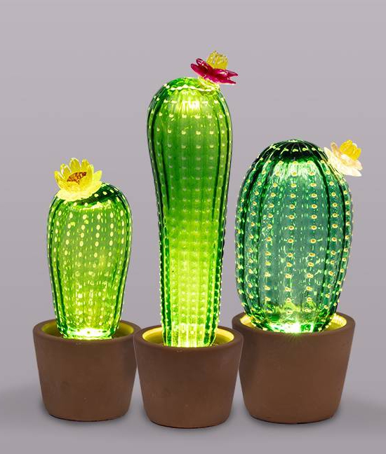 3 Table Lamp Cactus Designs Glass Handmade pVqSMUz