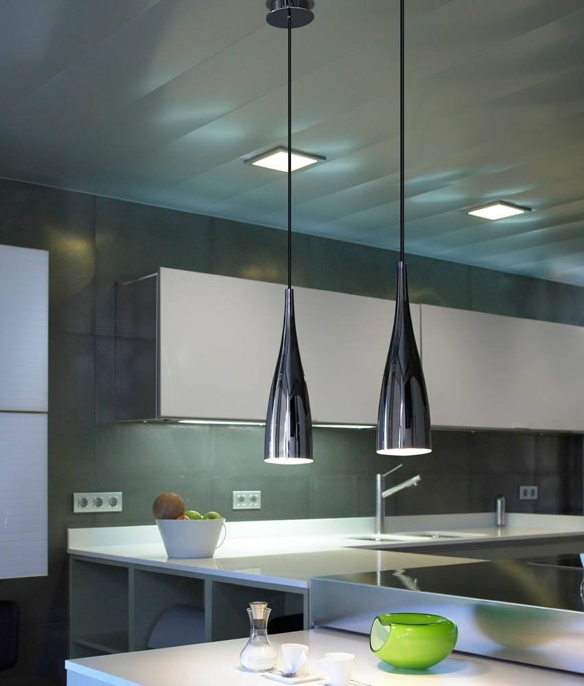 Elegant Slim Pendant Light In Black, White Or Red