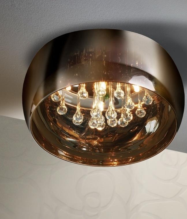 Flush Ceiling Mounted Light Barrel Like Smoked Glass