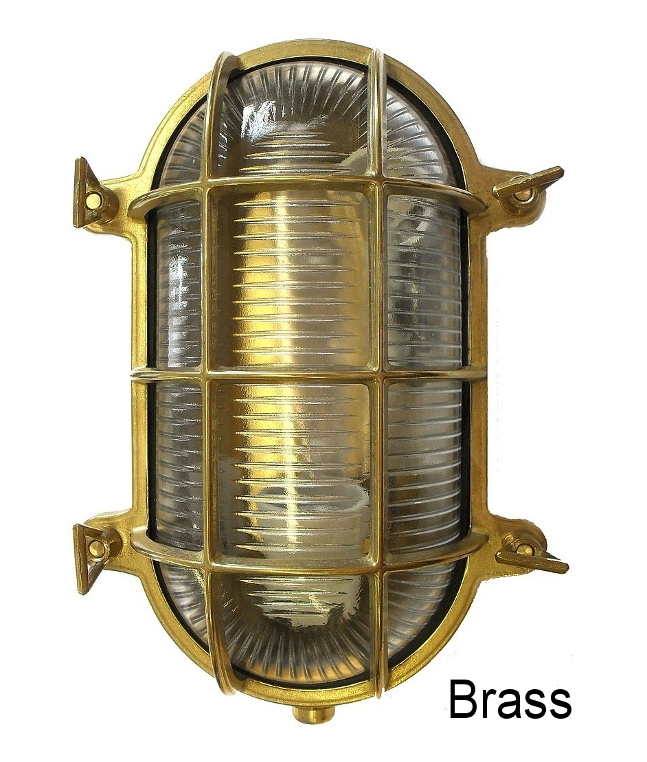 Marine Brass And Prismatic Glass Pill Bulkhead
