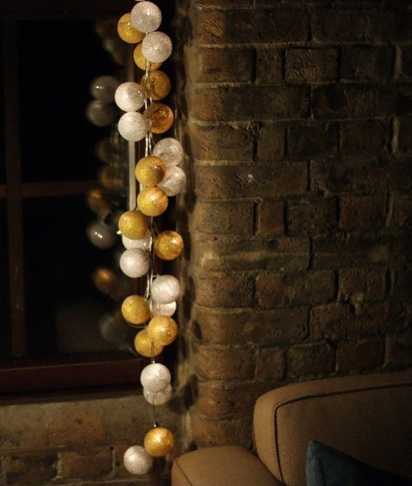 Christmas Colours Silver Amp Gold Cotton Ball String Lights