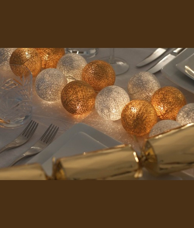 Christmas Silver and Gold Cotton Ball String Lights