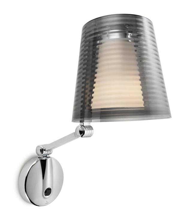 Swing Arm Chrome Bedside Wall Light with Acrylic Shade