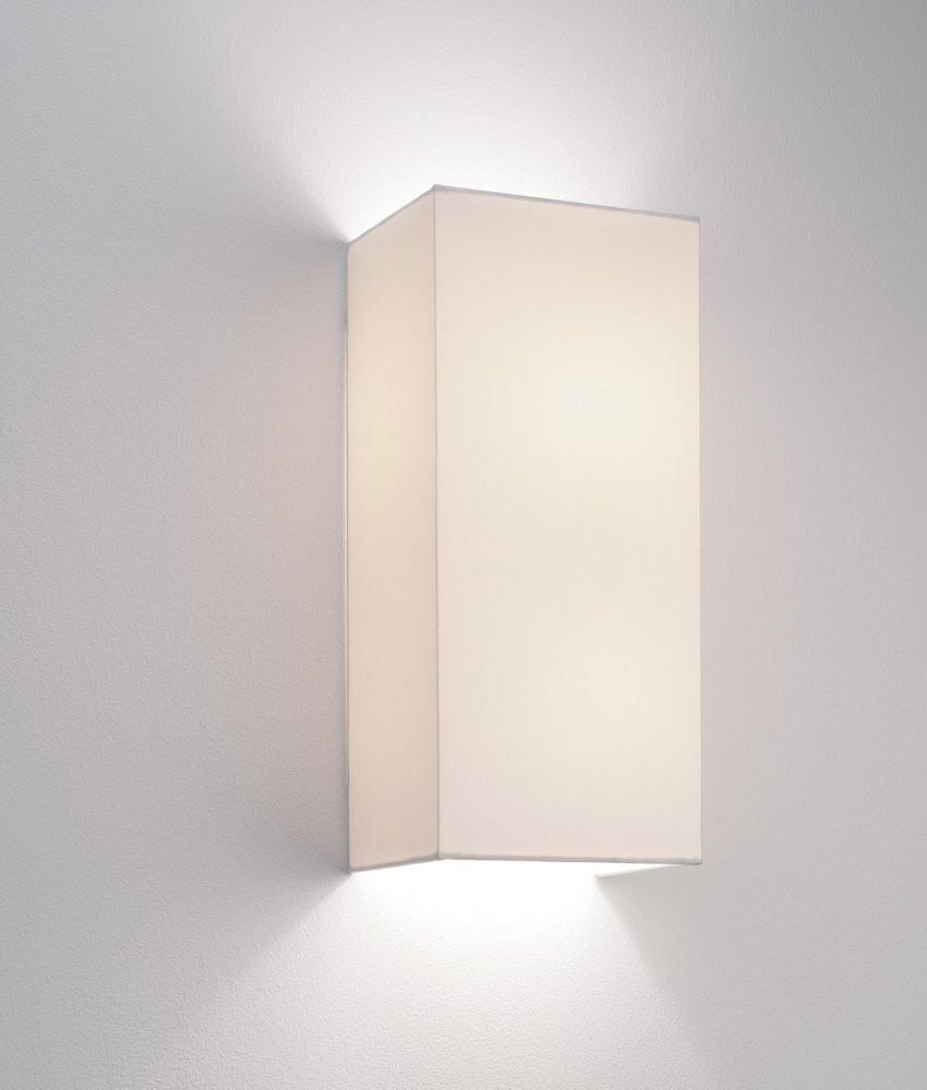 Fabric Wall Lamp Shades : Simple Fabric Tall Wall Light - Up & Down Lighting - White or Oyster