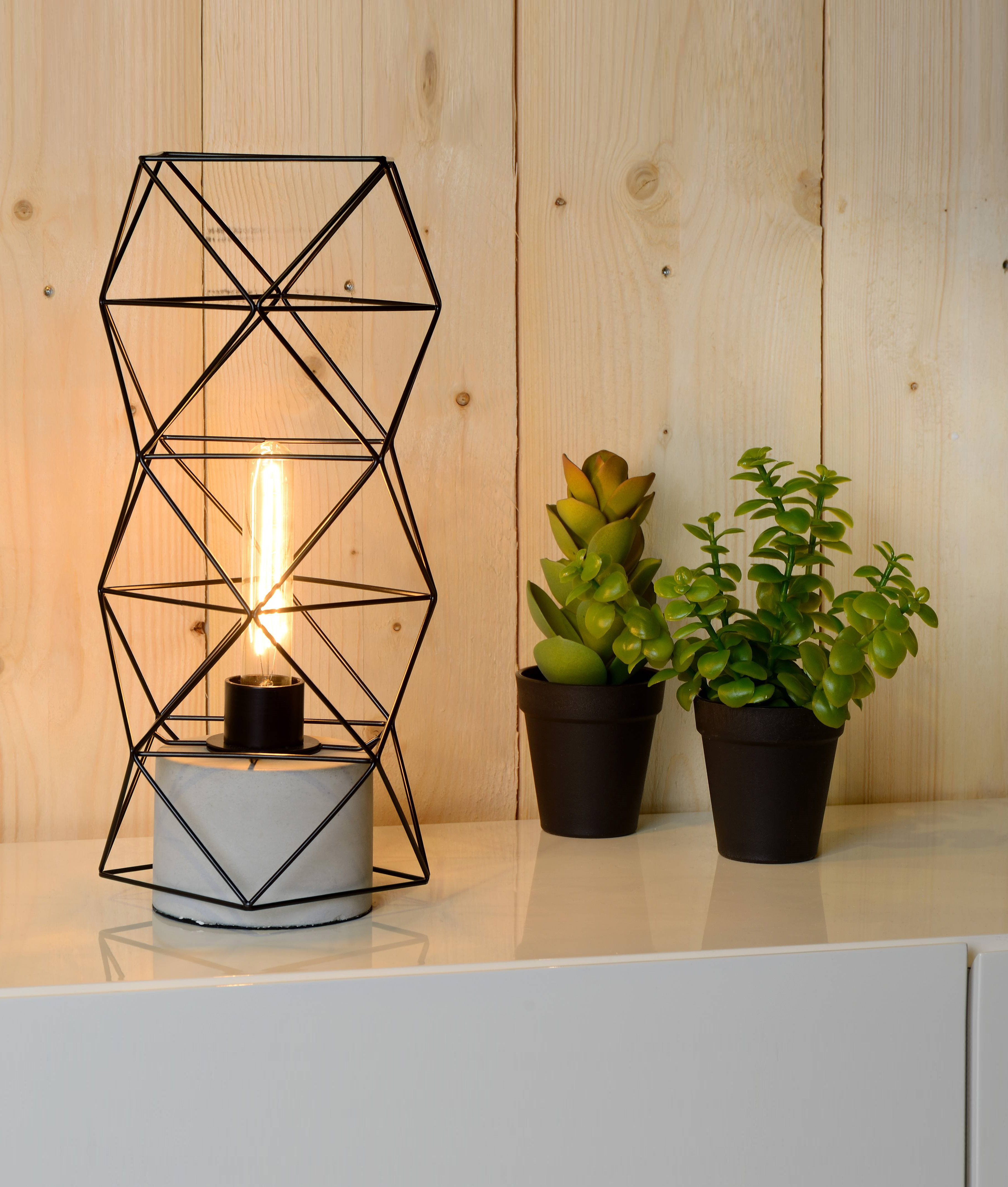 Geometric Metal Table Lamp With Concrete Base