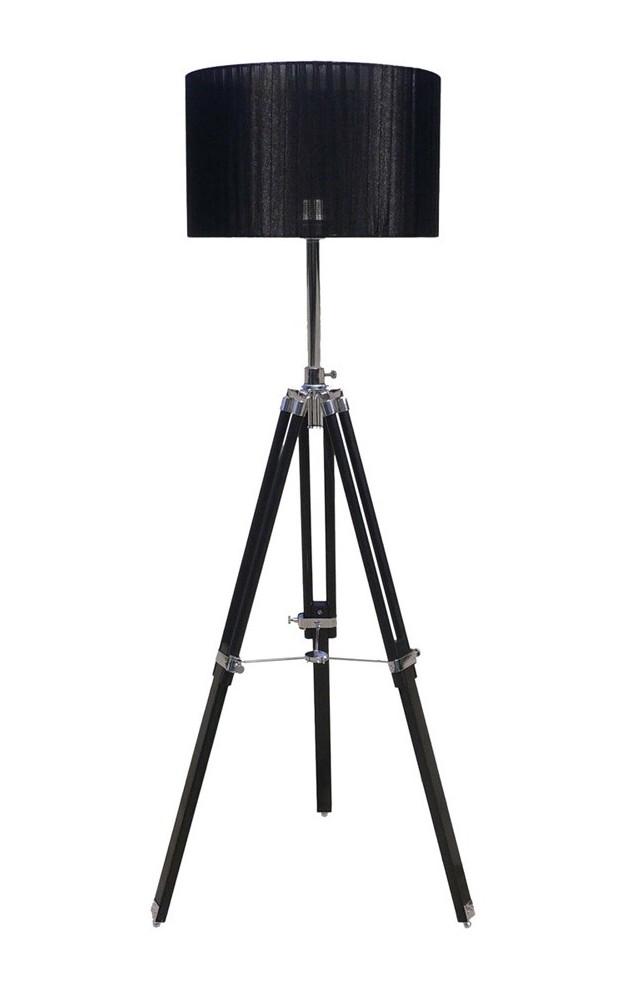 Surveyors Tripod Floor Lamp With Drum Shade Telescopic