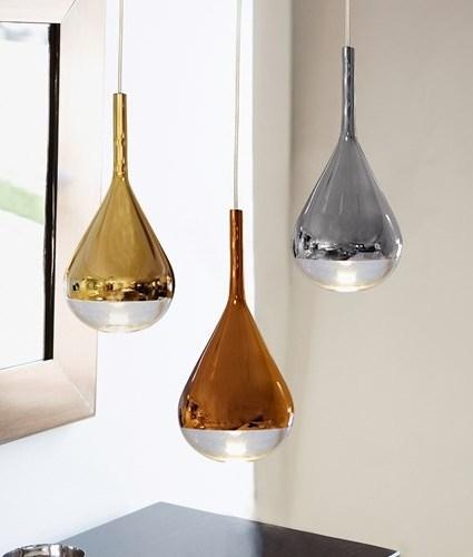 Luscious Metalic Teardrop Glass Light Pendants In Gold