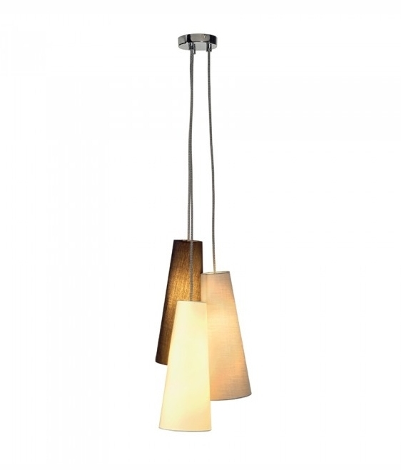 Triple Conical Cluster Pendant Light With Textile Shades
