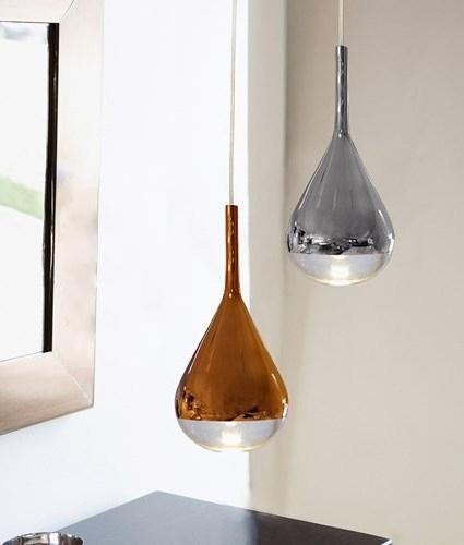 Petit Paris Glass Pendant Light For Sale: Luscious Metallic Teardrop Glass Light Pendants In Gold